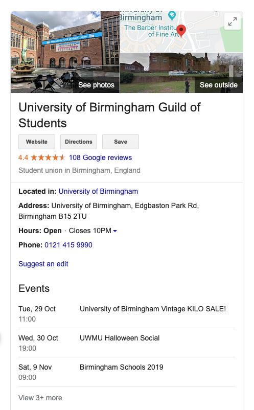 Screenshot of Birmingham Guild's Google My Business profile
