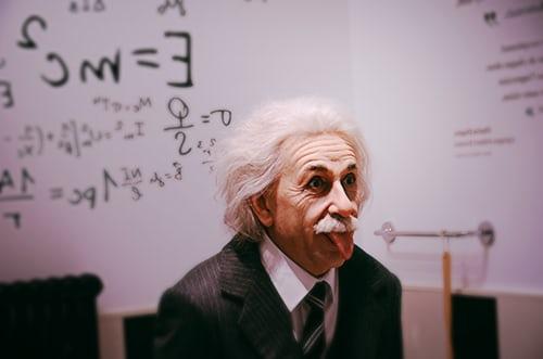 'Einstein' in front of a whiteboard